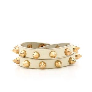 Cream Leather Spike Wrap Bracelet